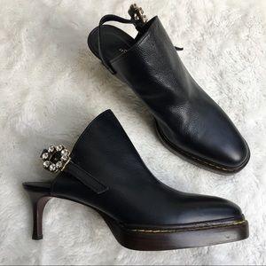 3.1 Phillip Lim Black Leather Slip On Heels Size 9